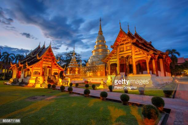 wat phra singh is located in the western part of the old city center of chiang mai,thailand - khmer art stock photos and pictures