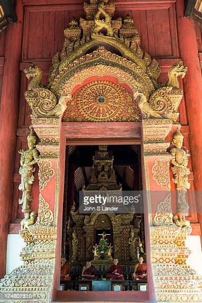 Wat Phra Singh or Wat Phra Singh Woramahaviharn: Viharn Lai Kham, Bot, Chedi and Vihard Luang - Wihan Luang - the original wihan was replaced by the...