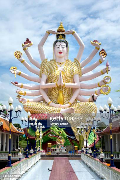 wat plai laem, buddhist temple on the resort samui island - shiva stock pictures, royalty-free photos & images