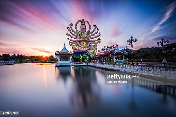 wat plai laem temple in ko samui at sunrise - ko samui stock photos and pictures