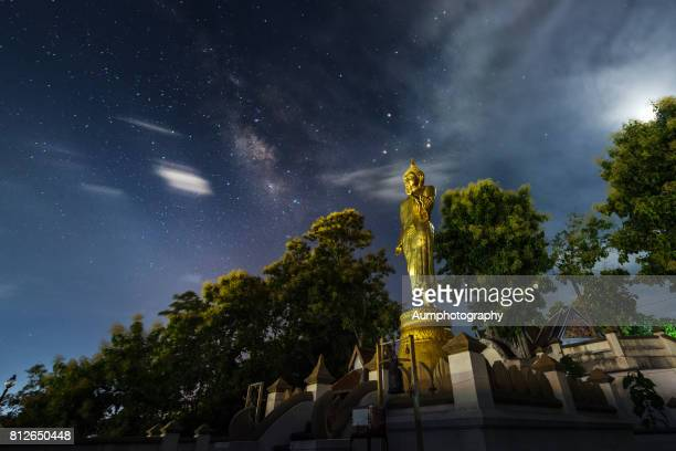 Wat Prathat Khao Noi with milky Way Galaxy Stars Backgrounds.