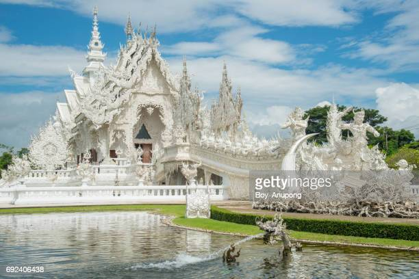 Wat Rong Khun (other name White temple) the iconic most tourist attraction place in Chiang Rai province of Thailand.