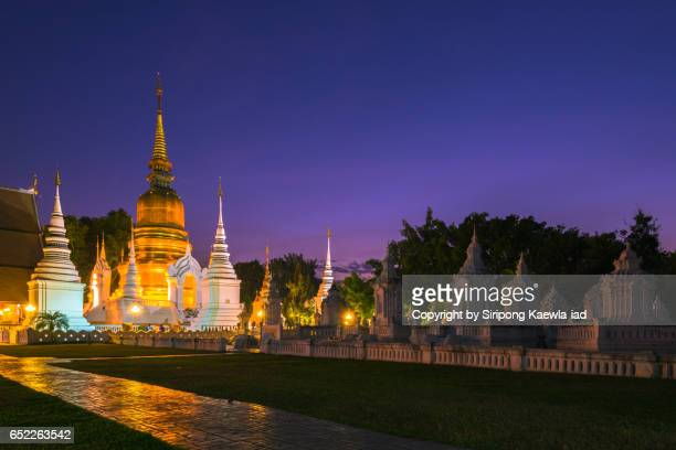 Wat Suan Dok in twilight time, Chiang Mai province.