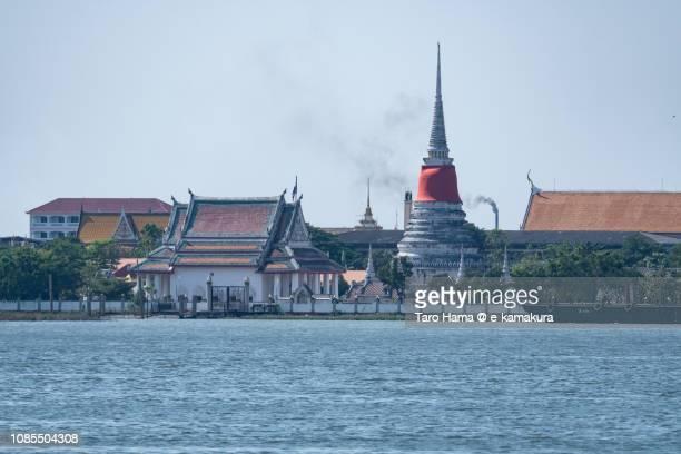 Wat Trai Mit Wararam and Chao Phraya River in Thailand