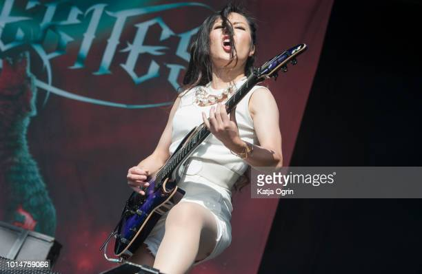 Watanabe Miyako of Lovebites performs at Bloodstock Festival at Catton Hall on August 10 2018 in Burton Upon Trent England