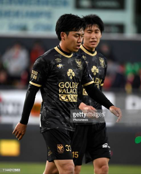 Wataru Endo defender of SintTruiden and Daichi Kamada of SintTruiden during the Jupiler Pro LeaguePO 2 match between KV Oostende and STVV on May 15...