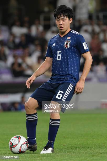Wataru Endo of Japan in action during the AFC Asian Cup semi final match between Iran and Japan at Hazza Bin Zayed Stadium on January 28 2019 in Al...