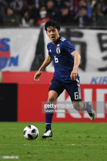 Wataru Endo of Japan in action during the international friendly match between Japan and Venezuela at Oita Bank Dome on November 16 2018 in Oita Japan