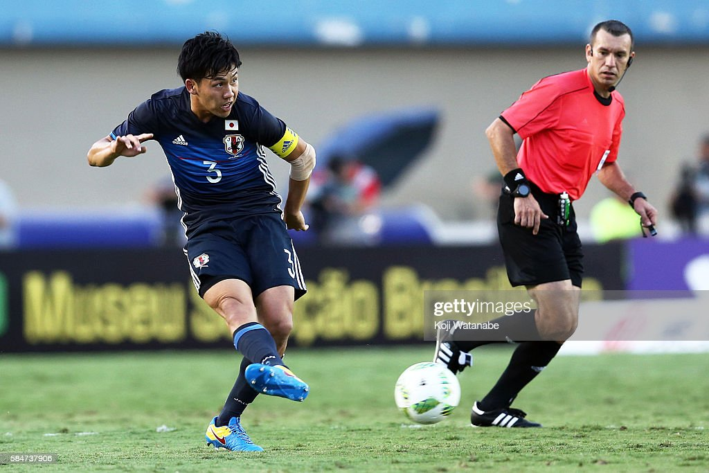 Wataru Endo #3 of Japan in action during the international friendly match between Japan and Brazil at the Estadio Serra Dourada on July 30, 2016 in Goiania, Brazil.