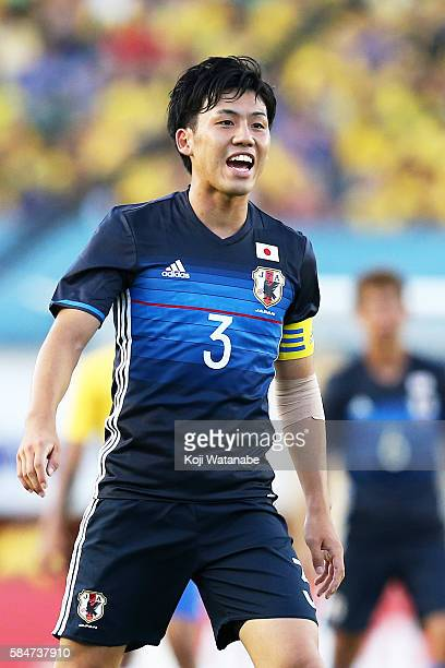 Wataru Endo of Japan in action during the international friendly match between Japan and Brazil at the Estadio Serra Dourada on July 30 2016 in...