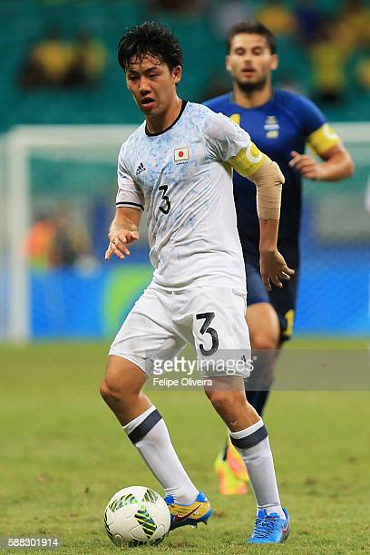 Wataru Endo of Japan in action during the Men's Football Group B match between Japan and Sweden at Arena Fonte Nova on August 10 2016 in Salvador...