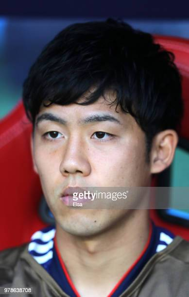 Wataru Endo of Japan looks on from the bench prior to the 2018 FIFA World Cup Russia group H match between Colombia and Japan at Mordovia Arena on...
