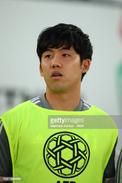 Wataru Endo of Japan looks on prior to the AFC Asian Cup final match between Japan and Qatar at Zayed Sports City Stadium on February 1 2019 in Abu...