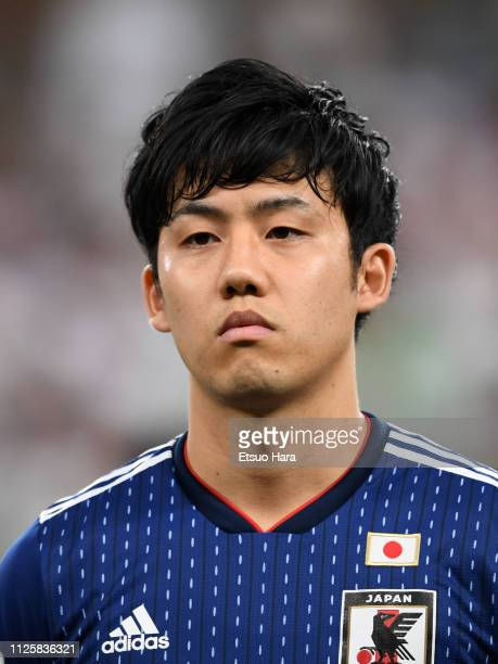 Wataru Endo of Japan looks on prior to the AFC Asian Cup semi final match between Iran and Japan at Hazza Bin Zayed Stadium on January 28 2019 in Al...