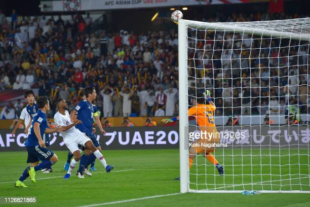 Wataru Endo of Japan of Qatar shoots at the goal during the AFC Asian Cup final match between Japan and Qatar at Zayed Sports City Stadium on...