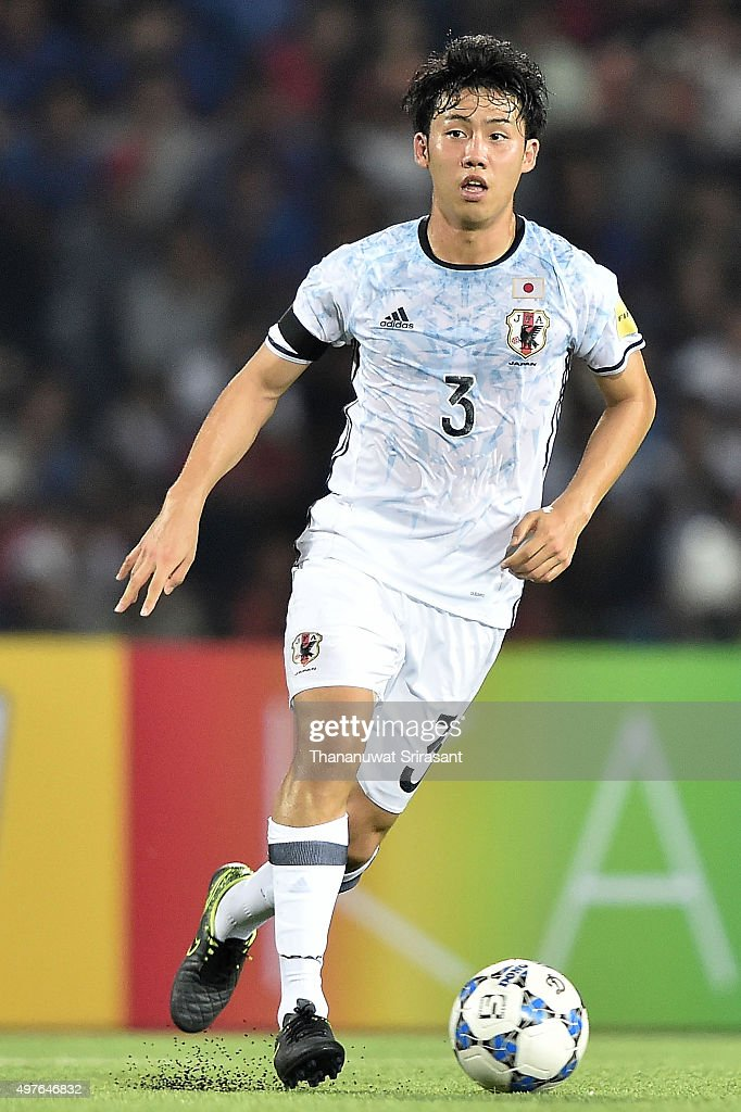 Wataru Endo #3 of Japan runs with the ball during the 2018 FIFA World Cup Qualifier match between Cambodia and Japan on November 17, 2015 in Phnom Penh, Cambodia.