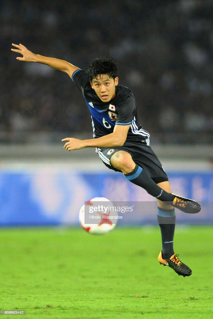 Wataru Endo of Japan shoots at goal during the international friendly match between Japan and Haiti at Nissan Stadium on October 10, 2017 in Yokohama, Kanagawa, Japan.