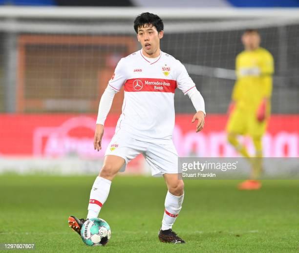 Wataru Endo of Stuttgart in action during the Bundesliga match between DSC Arminia Bielefeld and VfB Stuttgart at Schueco Arena on January 20, 2021...