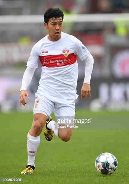 Wataru Endo of Stuttgart in action during the Second Bundesliga match between FC St. Pauli and VfB Stuttgart at Millerntor Stadium on February 01,...