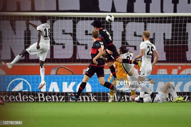 Wataru Endo of Stuttgart scores his team's first goal during the Second Bundesliga match between VfB Stuttgart and Hamburger SV at Mercedes-Benz...