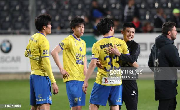 Wataru Endo of STVV and Yuta Toyokawa of Kas Eupen during the Jupiler Pro League playoff 2 group A match between Kas Eupen and Stvv on April 20 2019...