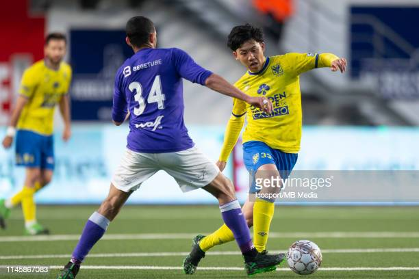 Wataru Endo of STVV during the Jupiler Pro League playoff 2 group A match between Stvv and Beerschot Wilrijk on April 28 2019 in SintTruiden Belgium