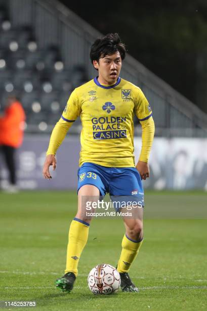 Wataru Endo of STVV in action during the Jupiler Pro League playoff 2 group A match between Kas Eupen and Stvv on April 20 2019 in Eupen Belgium