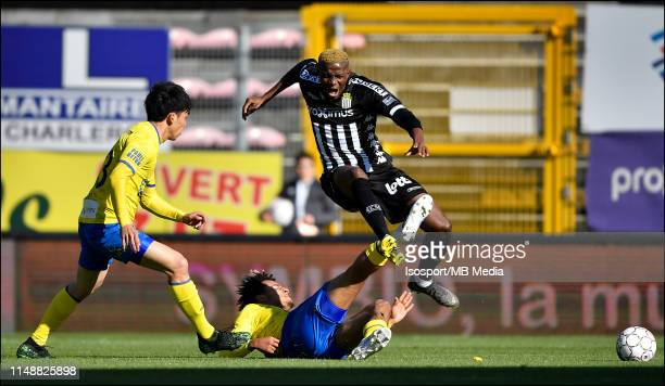 Wataru Endo of STVV Samy Mmaee of STVV and Victor Osimhen of Charleroi fight for the ball during the Jupiler Pro League playoff 2 group A match...