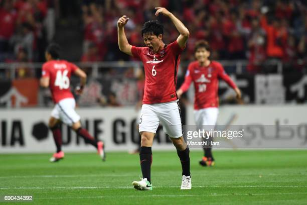 Wataru Endo of Urawa Red Diamonds celebrates their second goal during the AFC Champions League Round of 16 match between Urawa Red Diamonds and Jeju...