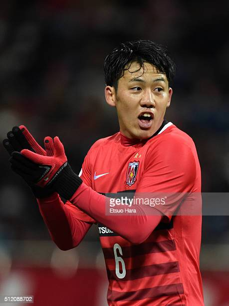 Wataru Endo of Urawa Red Diamonds gestures during the AFC Champions League Group H match between Urawa Red Diamonds and Sydney FC at Saitama Stadium...