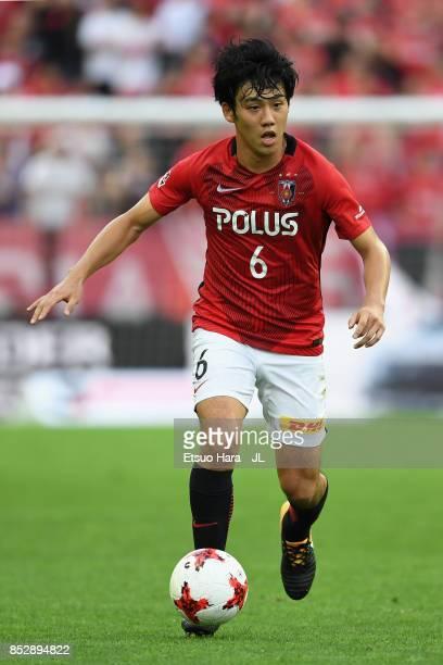 Wataru Endo of Urawa Red Diamonds in action during the JLeague J1 match between Urawa Red Diamonds and Sagan Tosu at Saitama Stadium on September 23...