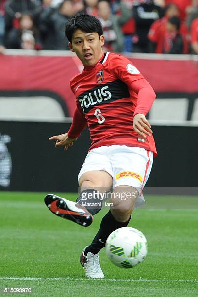 Wataru Endo of Urawa Red Diamonds in action during the JLeague match between Urawa Red Diamonds and Avispa Fukuoka at the Saitama Stadium on March 12...