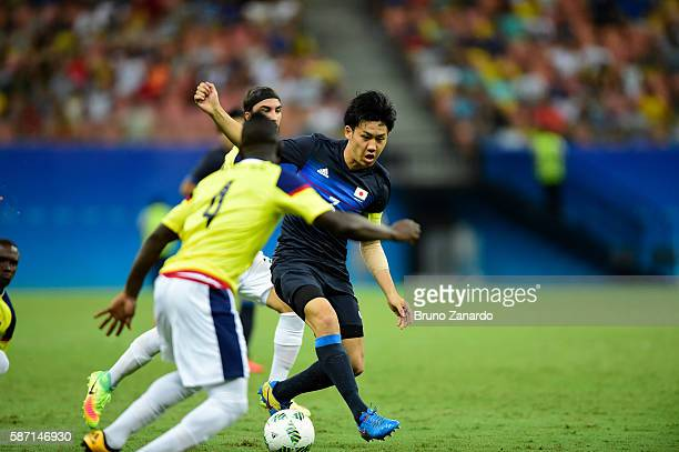 Wataru Endo player of Japan in action during 2016 Summer Olympics match between Japan and Colombia at Arena Amazonia on August 7 2016 in Manaus Brazil