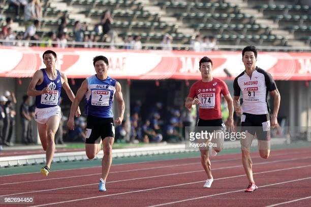 Wataru Inuzuka, Yuki Koike, Yoshihide Kiryu and Shota Iizuka compete in the Men's 200m final on day three of the 102nd JAAF Athletic Championships at...