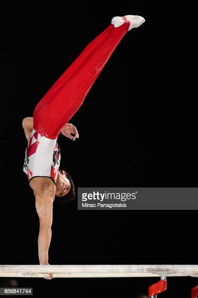 Wataru Tanigawa of Japan competes on the parallel bars during day one of the Artistic Gymnastics World Championships on October 2 2017 at Olympic...