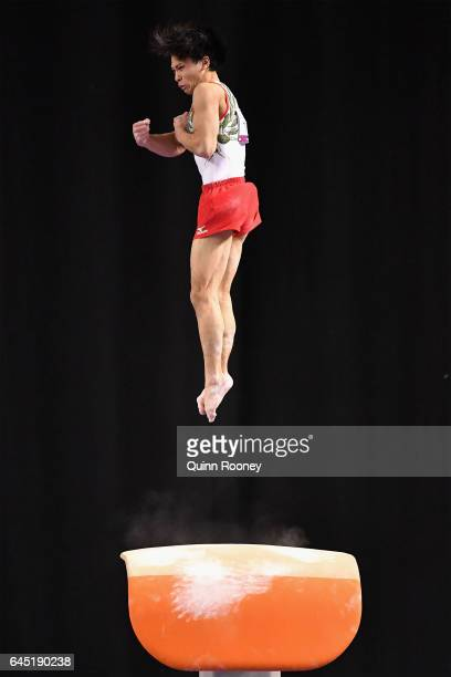 Wataru Tanigawa of Japan performs on the Vault during the World Cup Gymnastics at Hisense Arena on February 25, 2017 in Melbourne, Australia.