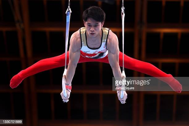 Wataru Tanigawa of Team Japan competes on rings during the Men's Team Final on day three of the Tokyo 2020 Olympic Games at Ariake Gymnastics Centre...