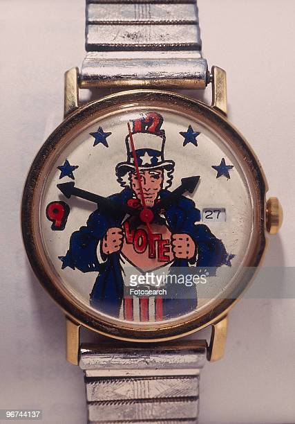 Watch featuring an image of Uncle Sam opening his shirt to reveal the word 'Vote' USA date unknown