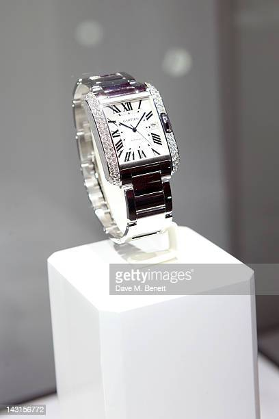 A watch is displayed at the launch party for the Cartier Tank Anglaise Watch Collection at The Orangery on April 19 2012 in London England