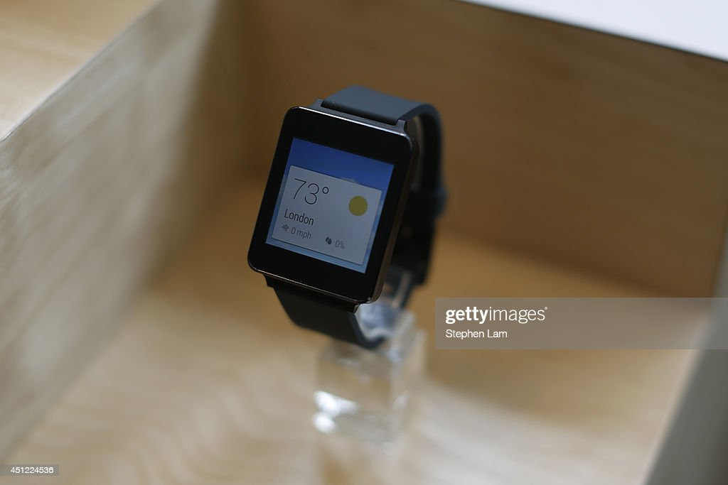 G watch is seen on display during the Google I/O Developers Conference at Moscone Center on June 25, 2014 in San Francisco, California. The seventh annual Google I/O Developers conference is expected to draw thousands through June 26.