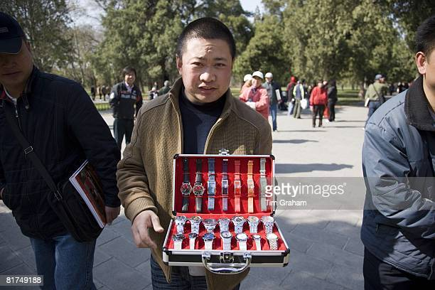 Watch seller in park of the Temple of Heaven Beijing China