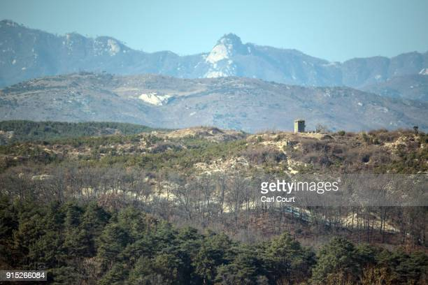 A watch tower is pictured in North Korea near the Demilitarized Zone between South and North Korea on February 7 2018 in Panmunjom South Korea In a...