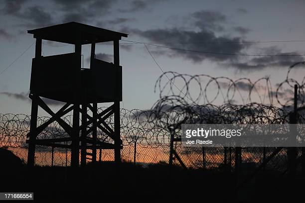 Watch tower is seen in the currently closed Camp X-Ray which was the first detention facility to hold 'enemy combatants' at the U.S. Naval Station on...