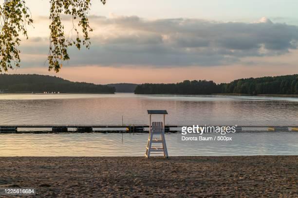 watch tower overlooking lake, kortowo, warmińsko-mazurskie, poland, warmian-mazurian voivodeship - baum stock pictures, royalty-free photos & images