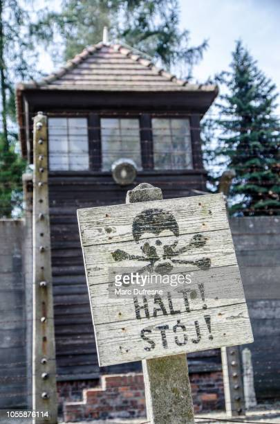 watch tower with stop sign at the auschwitz concentration camp in poland during summer day - nazism stock pictures, royalty-free photos & images