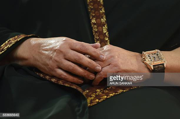 A watch worn by Jayalalithaa Jayaram leader of All India Anna Dravida Munnetra Kazhagam is seen as she takes part in a swearingin ceremony as chief...