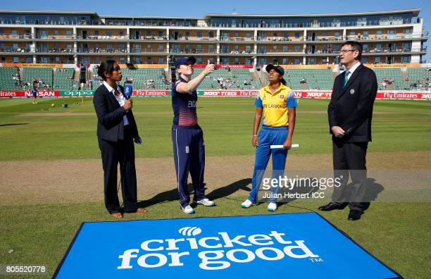 Watched by Ebony RainfordBrent and Match Referee Steve Bernard Heather Knight of England and Inoka Ranaweera of Sri Lanka take part in the coin toss...