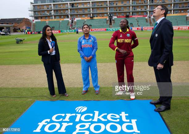 Watched by Isa Guha and Match Referee Steve Bernard Mithali Raj of India and Stefanie Taylor of India take part in the coin toss before The ICC...