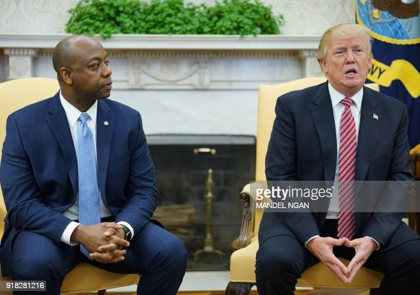 Watched by Senator Tim Scott RSC US President Donald Trump speaks during a working session regarding opportunity zones following the recently signed...