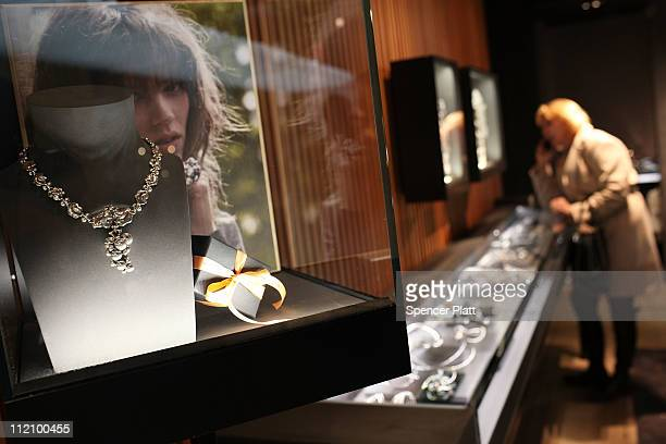 Watches and jewelry are displayed at a Georg Jensen store during a reception for Madison Avenue Watch Week on April 12 2011 in New York City The...
